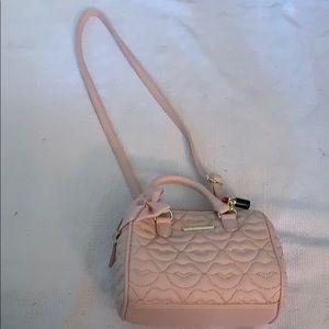 Betsey Johnson pink and gold crossbody purse